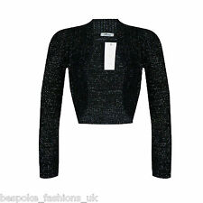 Ladies Long Sleeve Cropped Bolero Knitted Lurex Shrug Sparkly Top Plus Size 8-16 Black XL 14-16