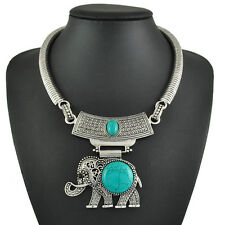 New Women Fashion Accessories Turquoise Elephant Vintage Silver Choker Necklace