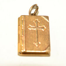 VINTAGE 14K YELLOW GOLD 3D CHARM BOOK WITH CROSS OPENS WITH LORD'S PRAYER INSIDE