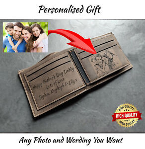 Men's Custom Photo & Text Engraved Brown Wallet Personalised Anniversary Gift