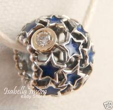 NIGHT SKY Genuine PANDORA Silver/BLUE ENAMEL STARS/Cz Stone/14K GOLD Charm/Bead
