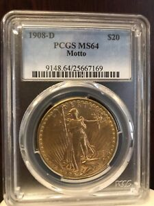 1908 D W/ Motto  St Gaudens $20 Gold Double Eagle MS64