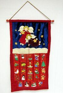 "Velvet Fabric Angel Star Marker Christmas Advent Calendar Wall Hanging 15x28"""