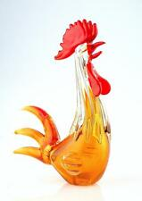 "New 12"" Large Hand Blown Art Glass Rooster Chicken Bird Figurine Sculpture Amber"