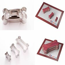 "Dog Bone Shape Acciaio Cookie CAKE CUTTER Fondant 1 ""Deep Set di 3"