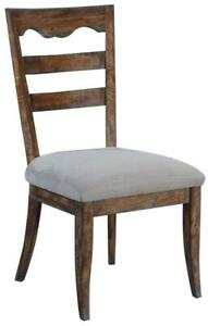 SIDE CHAIR DINING PORTICO RUSTIC PECAN WOOD  SWEDISH MOSS ACCENTS  GRAY LI