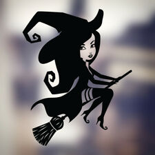 Spooky Lindo Bruja Girl Escoba Halloween Window Decal Sticker Auto Decoración del Hogar De Pared
