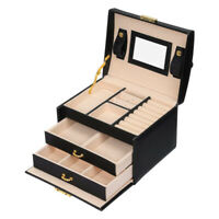 Jewelry Box with Handle PU Leather Jewelry Organizer Mirrored Storage Case