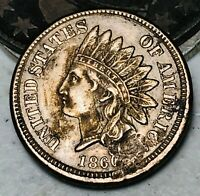 1860 CN Indian Head Cent Penny 1C FULL LIBERTY & DIAMONDS US Copper Coin CC4315