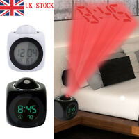 LCD Display Alarm Clock Talking Projection Wake Up Projector Weather Temperature