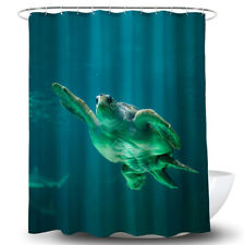 Turtle Shape Shower Curtain Bathroom Waterproof Curtain With Hooks Room Decor BS