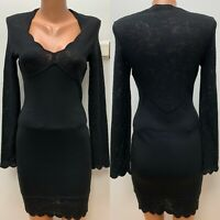 MUGLER size M / IT 44 maybe Wool Dress Black Knitted Floral Lace Detail AUTH