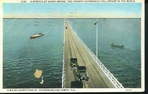 GANDY BRIDGE  FLORIDA WB HCPC POSTCARD 1929  REF: BUB180