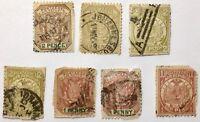 (7) Antique 19th Century Stamps South Africa Z Afr Republiek Johannesburg Cancel