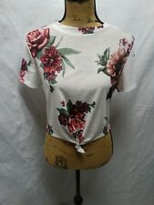 Womens NWT Iris White Polyester Floral Pattern Short Sleeve Crop Top L