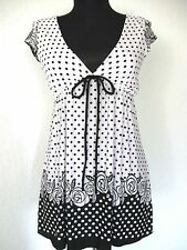 Wet Seal Top Sz. Small Black and White Print Knit Cap Sleeves #134