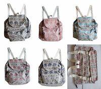 Rucksack Baumwolle Elefanten Muster Backpack Stoff Tasche leicht Kinder Schüler