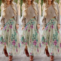 New BOHO Hippy Gypsy Women Summer Floral Long Maxi Skirt Beach Dress Sundress