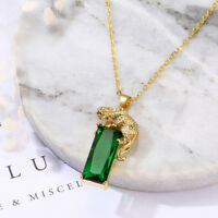 EG_ Charm Chain Golden Leopard Rhinestone Pendant Necklace Unisex Jewelry Gift G