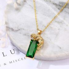 HK- Charm Chain Golden Leopard Rhinestone Pendant Necklace Unisex Jewelry Gift G