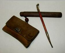 Rare! Vintage Japanese Tobacco Pouch & Kiseru Smoking Pipe with case  #a2130