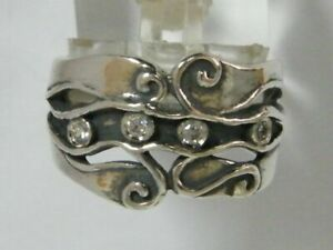 Modern Hand Crafted 925 Sterling Silver SHABLOOL Ring White white CZ Band
