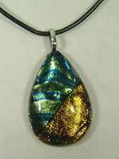 "BUTW Gorgeous Dichroic Glass 50mm 2Tone Tear Pendant 16-18"" Leather Cord 8699D"