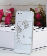 Hello kitty Ultra Thin Transparent Clear Bling Hard Case Cover for Iphone 5s / 5