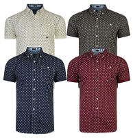 Firetrap Men's New Short Sleeve Slim Shirt Casual Pattern Blue Ecru Red Grey
