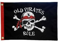 """Old Pirates Rule 12X18"""" Boat Flag New Pirate Jolly Roger"""