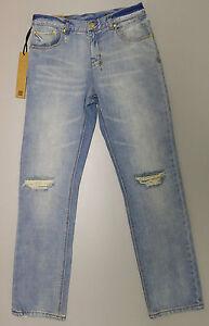 NEW Ksubi BOYFRIEND Blue Distressed Slim Jeans W-25 L-32 Ripped RRP$ 279.95 NWT