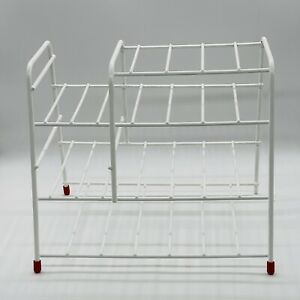 Vintage Retro Plastic Coated Wire White Plate dish Rack display space saving