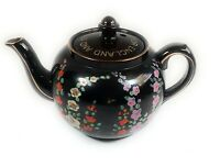World War II Antique Teapot for USA Britain and Democracy Hand Painted Black