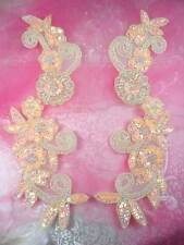 0183 Sequin Appliques Peach Floral Beaded Aurora Borealis Mirror Pair Patch 10""