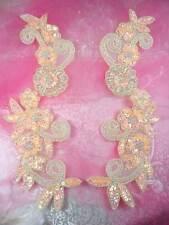 "0183 Sequin Appliques Peach Floral Beaded Aurora Borealis Mirror Pair Patch 10"""