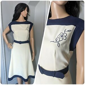 Vintage 70s Embroidered Navy Cream Floral Belted A line Tea Dress S 10 38