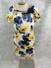 Vera Wang Simply Vera short sleeve dress Petite Size S floral blue yellow