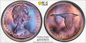 1967 CANADA SILVER GOOSE $1 DOLLAR PCGS MS65 EXTREME COLOR TONING BEATIFUL COIN