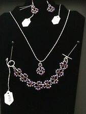 Purple Crystal & Pearl and Silver tone beads Bracelet Silver plated