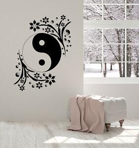 Wall Vinyl Decal Black White Yin Yang Circle Symbol Yoga Studio Sticker (n1430)