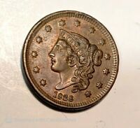 1838 Coronet Head Cent Penny AU About Uncirculated, Free Shipping!