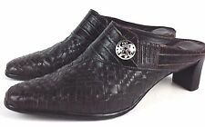 BRIGHTON TRYST Woven Croc Embossed Leather Slip On Mule Heel Shoes Womens 9.5 M