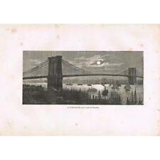 GRAVURE La Rivière de l'Est ou East River sous le Pont de Brooklyn XIXè Siécle