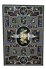8'x3' Antique Marble Console Table Marquetry Birds Inlay Design Handmade Decor