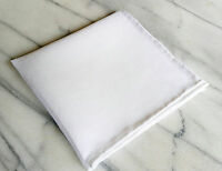 Linen Mens Pocket Square- Hand rolled 100% Linen Solid White Pocket Square