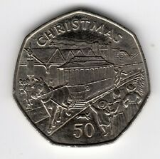 More details for 1986 50p coin iom christmas horse drawn tram aa isle of man fifty pence iom223