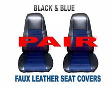 TRUCK Seat Covers (PAIR) Black & Blue Faux Leather Peterbilt Freightliner