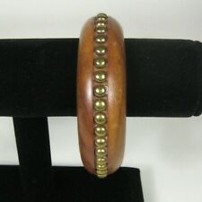 Bracelet Brasstone Wood Bangle .9 Inch Bohemian Retro Studded Wooden