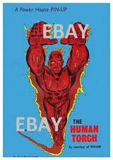 POWER PIN-UP Print - HUMAN TORCH Fantastic 4 Vintage Art Marvel UK Distribution