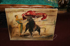 Vintage Bullfighting Painting Canvas-Matador & Bull-Signed E. Ayzol-Thick Paint
